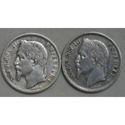 Napoléon III lot de 1 Franc 1866 A & 1868 BB chez lartdesgents.fr