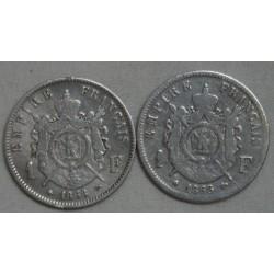 Napoléon III lot de 1 Franc 1866 A & 1868 A lartdesgents.fr