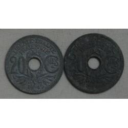 lot de 20 Centimes 1945 & 1946 zing (2) lartdesgents.fr