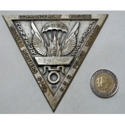 Médaille plaque triangle CAE 2° R.E.P S.ER. Police militaire, missiles mortiers 81m/m, commandement Musique