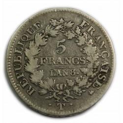Directoire/Consulat - 5 Francs An 8/5 T Nantes B+