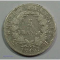 EMPIRE - Napoléon Empereur 5 Francs 1812 H La Rochelle, TTB, lartdesgents.fr