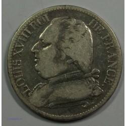 Restauration - LOUIS XVIII 5 Francs 1814 A Paris,TB, lartdesgents.fr