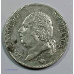 Buste Nu - LOUIS XVIII 5 Francs 1824 A Paris,TTB+, lartdesgents.fr
