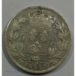 Buste Nu - LOUIS XVIII 5 Francs 1824 W LILLE,TTB, lartdesgents.fr