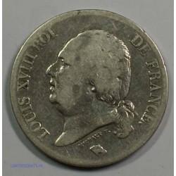 Buste Nu - LOUIS XVIII 5 Francs 1824 W LILLE,TB, lartdesgents.fr