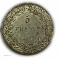 """ECU """"T.Creux"""" LOUIS PHILIPPE Ier 5 Francs 1831 B ROUEN,TTB+, lartdesgents.fr"""