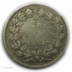 """ECU """"T.Creux"""" TYPE DOMARD LOUIS PHILIPPE Ier 5 Francs 1831 BB Strasbourg,TB, lartdesgents.fr"""