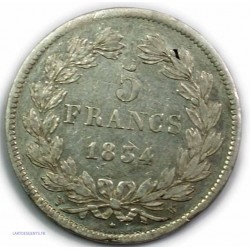 ECU 5 Francs LOUIS PHILIPPE Ier, 1834 W LILLE, TB