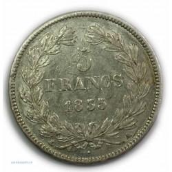 ECU 5 Francs LOUIS PHILIPPE Ier, 1835 A PARIS, TTB+