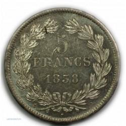 ECU 5 Francs LOUIS PHILIPPE Ier, 1838 A Paris, Superbe