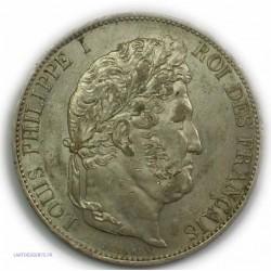 ECU 5 Francs LOUIS PHILIPPE Ier, 1845 BB Strasbourg, TTB+