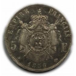 Second Empire - 5 Francs NAPOLEON III, 1856 BB Strasbourg, TTB
