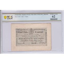 ALLEMAGNE Prusse 5 Thaler 1824 Pick S397 PCGS 62 UNC