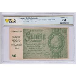 ALLEMAGNE 50 Reichsmark 1933 (1945) Uncancelled PCGS 64 UNC