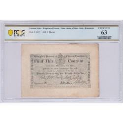 ALLEMAGNE Prusse 5 Thaler 1824 E Pick S397 PCGS 63 UNC