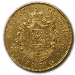50 Francs  NAPOLÉON III 1858 A PARIS, TTB+