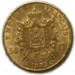 50 Francs  NAPOLÉON III 1862 A PARIS, SUP, lartdesgents.fr