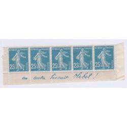 Bande publicitaire 5 timbres 25 c  bleu biscuit olibet cote 530 Euros l'art des gents3
