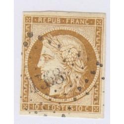 Timbre N°1 10 c. bistre-jaune cote 350 1850 signé charnière cote 350 Euros l'art des gents