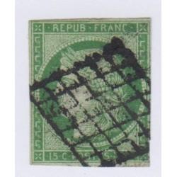 Timbre N°2 15 c. vert 1850 oblitéré, cote 1100 Euros l'art des gents