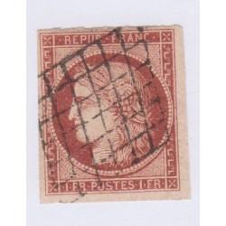 Timbre N°6B, 1 fr carmin 1850 oblitéré, cote 1100 Euros l'art des gents