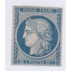Timbre N°8f, 20 c. bleu sur jaunâtre non émis NEUF, cote 800 Euros l'art des gents