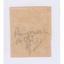Timbre N°9c, 10 c. bistre jaune réimpression signé NEUF, cote 750 Euros l'art des gents