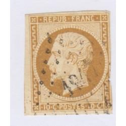 Timbre N°9, 10 c. bistre jaune oblitéré, cote 850 Euros l'art des gents