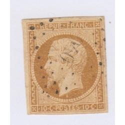 Timbre N°9a, 10 c. bistre brun oblitéré, cote 950 Euros l'art des gents 1