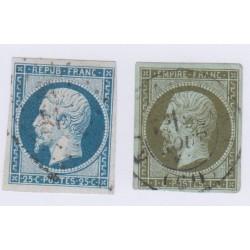 Timbres N°10 et N°11, 25 c. bleu et 1c. olive oblitérés, cote 135 Euros l'art des gents
