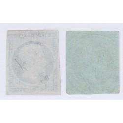 Timbres N°10 et N°11, 25 c. bleu et 1c. olive oblitérés, cote 135 Euros l'art des gents 2