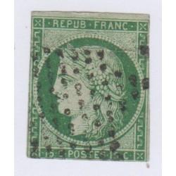 Timbre N°2 15 c. vert 1850 oblitéré, cote 1500 Euros l'art des gents