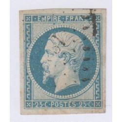 Timbre N°25,  25 c. bleu oblitéré signé , cote 290 Euros l'art des gents 1