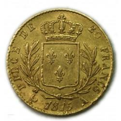 LOUIS XVIII 20 Francs 1815 A Superbe, lartdesgents.fr