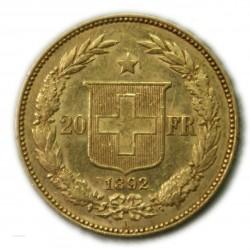 SUISSE 20 Francs 1892 B, lartdesgents.fr
