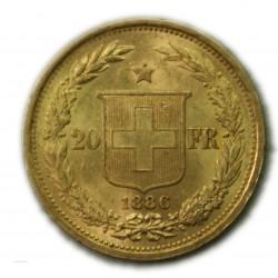 SUISSE 20 Francs 1886 B, lartdesgents.fr