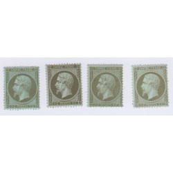 4 Timbres N°19 1 c. vert-olntsive 1862 Neufs sans gomme signés 240 Euros l'art des gents