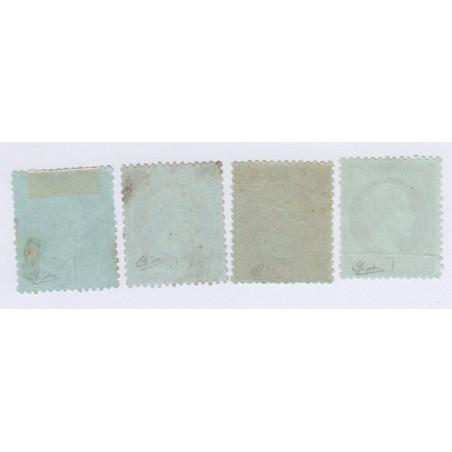 4 Timbres N°19 1 c. vert-olive 1862 Neufs sans gomme signés 240 Euros l'art des gents 2