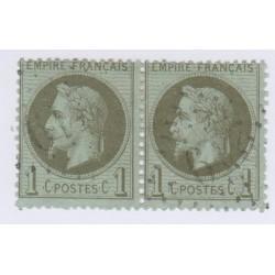 Bande de 2 Timbres N°25 1 c. vert bronze 1870 oblitérée 60 Euros l'art des gents