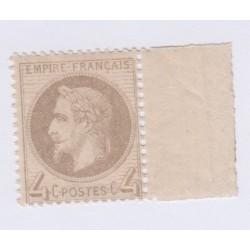 Timbre N°27B, 4 c. gris Type II octobre 1866 Neuf** signé  lartdesgents.fr