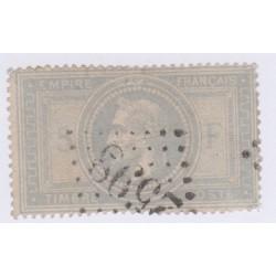 Timbre N°33, 5 fr. violet-gris, nov 1869 oblitéré cote 1150 euros lartdesgents.fr
