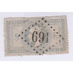 N°33, 5 fr. violet-gris, nov 1869 oblitéré cote 1150 euros lartdesgents.fr