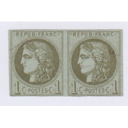 Paire N°39A , 1c. olive, 5 déc.1870 oblitérés cote 600 euros lartdesgents.fr 2