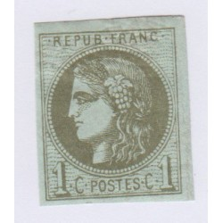 N°39A , 1c. olive, 5 déc.1870 Neuf signé cote 150 euros lartdesgents.fr