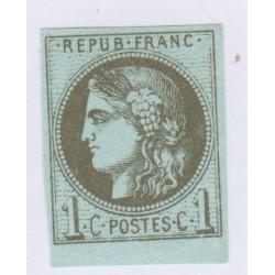 N°39B , 1c. olive,  déc.1870 Neuf** cote 225 euros lartdesgents.fr