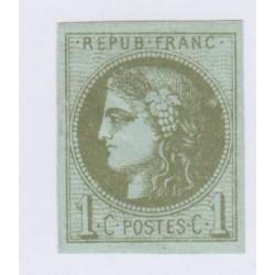 N°39C , 1c. olive,  déc.1870 Neuf avec gomme signé cote 200 euros lartdesgents.fr