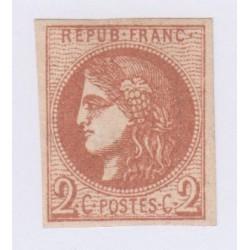 2c. chocolat clair,  14 déc 1870 oblitéré cote 1500 Euros lartdesgents.fr