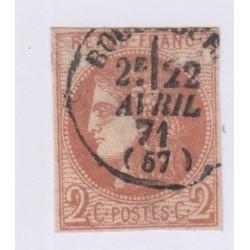 N°40A , 2c. chocolat clair,  14 déc 1870 oblitéré cote 1500 Euros lartdesgents.fr