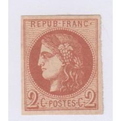 N°40B , 2c. brun-rouge,  18 déc 1870 NEUF* cote 360 Euros lartdesgents.fr